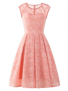 Pink Flowers Lace Round Neck Sleeveless Cocktail Party Midi Dress