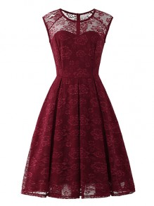 Wine Red Flowers Lace Round Neck Sleeveless Cocktail Party Midi Dress
