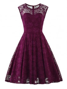 Purple Flowers Lace Round Neck Sleeveless Cocktail Party Midi Dress