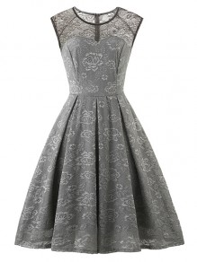 Grey Flowers Lace Round Neck Sleeveless Cocktail Party Midi Dress