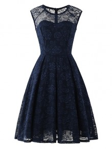 Navy Blue Flowers Lace Round Neck Sleeveless Cocktail Party Midi Dress
