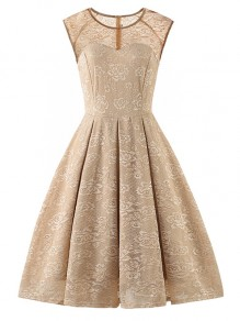 Apricot Flowers Lace Round Neck Sleeveless Cocktail Party Midi Dress