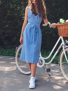 Blue-White Striped Single Breasted Sashes Backless Fashion Casual Midi Dress