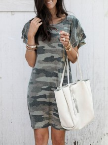 Green Camouflage Print Round Neck Short Sleeve Fashion Midi Dress