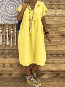 Yellow Pleated Buttons Bodycon Comfy V-neck Short Sleeve Sweet Midi Dress