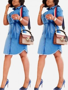 Dark Blue Buttons Belt Denim Casual Midi Dress