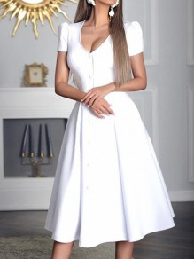 White Patchwork Single Breasted V-neck Short Sleeve Elegant Vintage Party Prom A-line Midi Dress