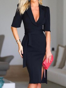 Black Sashes Side Slit Tailored Collar Elbow Sleeve Bodycon Elegant Midi Dress