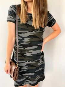 Green Camouflage Round Neck Short Sleeve Fashion Midi Dress
