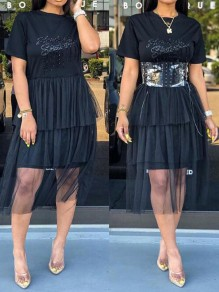 Black Patchwork Grenadine Sequin Cascading Ruffle Elbow Sleeve Skater Tutu Casual Midi Dress