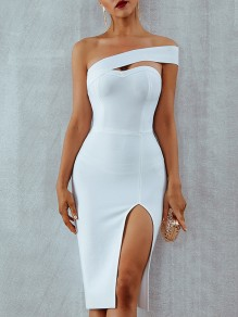 White Cut Out Irregular Slit Bandeau Bodycon Party Midi Dress