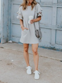Grey Patchwork Ruffle Pockets Short Sleeve Fashion Midi Dress
