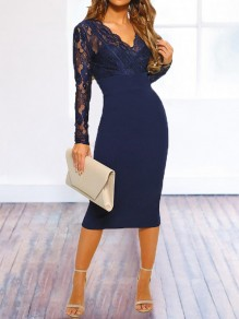 Navy Blue Patchwork Lace Backless Bodycon V-neck Long Sleeve Elegant Bridesmaid Prom Homecoming Party Midi Dress