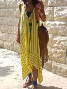 Yellow Striped Irregular V-neck Sleeveless Going out Midi Dress