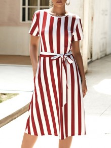 Wine Red Striped Belt Pockets Short Sleeve Fashion Midi Dress