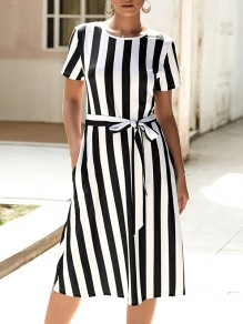 Black Striped Belt Pockets Short Sleeve Fashion Midi Dress
