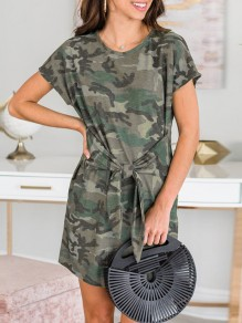 Green Camouflage Belt Bow Short Sleeve Fashion Midi Dress