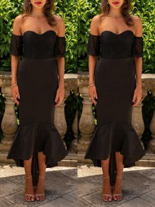 Black Patchwork Lace Ruffle Bodycon Off Shoulder Party Midi Dress