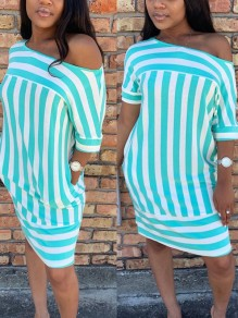 Light Blue Striped One Off Shoulder Pockets Casual Midi Dress