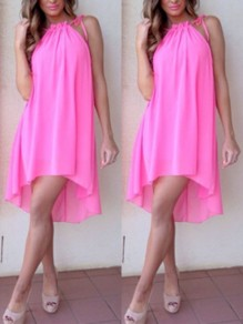 Pink Irregular Bodycon Halter Neck High-Low Going out Midi Dress
