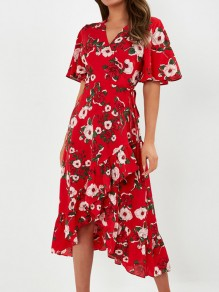 Red Floral Ruffle Sashes V-neck Short Sleeve Fashion Casual Midi Dresses