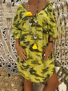 Yellow Camouflage Backless Bodycon Comfy 3/4 Sleeve Going out Midi Dress
