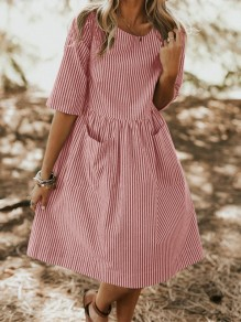 Pink Striped Pockets Pleated Round Neck Elbow Fashion Sweet Midi Dress