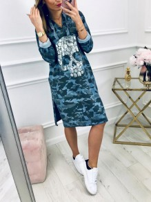 Blue Fashion Comfy Going out One Piece Midi Dress