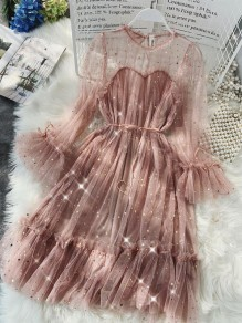 Pink Fashion Comfy Going out One Piece Midi Dress