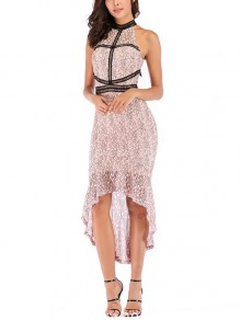 Pink Floral Lace Halter Neck Sleeveless High-low Elegant Party Midi Dress