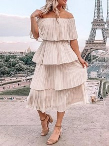 Apricot Patchwork Layers Of Pleated Boat Neck Fashion Midi Dress