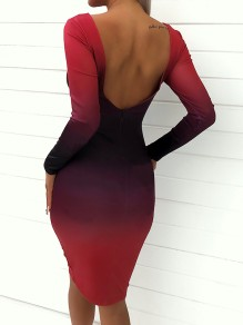 Red Print Gradient Color Backless Long Sleeve Bodycon Fashion Midi Dress