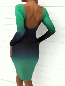 Green Print Gradient Color Backless Long Sleeve Bodycon Fashion Midi Dress