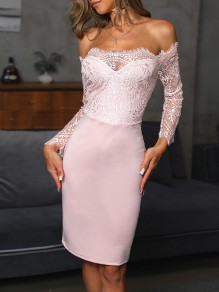 Pink Patchwork Lace Off Shoulder Ttrendy Bodycon Comfy Going out Midi Dress