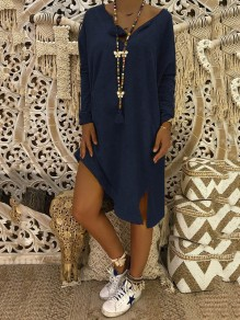 Blue Side Slit Bodycon Comfy V-neck Long Sleeve Going out Midi Dress