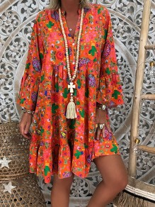 Orange Floral Pattern Ruffle Bodycon V-neck Long Sleeve Going out Midi Dress