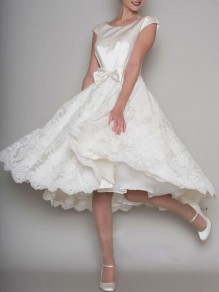 White Patchwork Lace Bowknot Backless Skater Tutu Wedding Homecoming Elegant Party Midi Dress