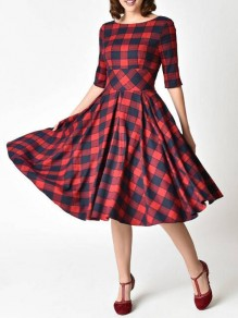 Red-Black Plaid Draped Flannel Half Sleeve Skater Tutu Homecoming Christmas Party Midi Dress