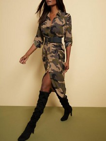 Army Green Camouflage Single Breasted Pockets 3/4 Sleeve High-low Distressed Midi Dress