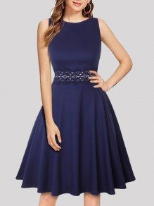 Navy Blue Patchwork Lace Draped Round Neck Sleeveless Elegant Midi Dress