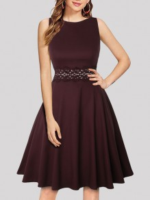 Wine Red Patchwork Lace Draped Round Neck Sleeveless Elegant Midi Dress