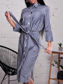 Dark Blue Gingham Sashes Buttons Three Quarter Length Sleeve Fashion Midi Dresses