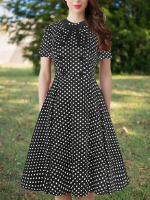 Black Polka Dot Buttons Zipper Bow Peter Pan Collar Short Sleeve Vintage Cute Casual Party A-line Midi Dress