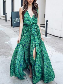 Green Floral Print Draped Flowy Big Swing Belt Deep V-neck Sleeveless Slit Casual Bohemian Maxi Dress