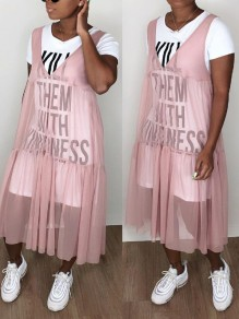 "Pink Grenadine ""KILL THEM WITH KINDNESS"" Letter Print Round Neck Short Sleeve Two Piece Preppy Style Midi Dress"