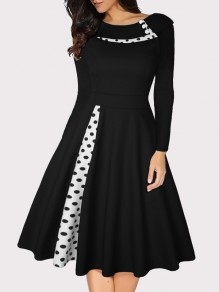 Black Polka Dot Buttons Long Sleeve Big Swing Vintage Midi Dress