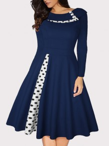 Blue Polka Dot Buttons Long Sleeve Big Swing Vintage Midi Dress