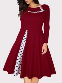 Burgundy Polka Dot Buttons Long Sleeve Big Swing Vintage Midi Dress