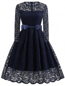 Navy Blue Bow Round Neck Long Sleeve Elegant Cocktail Party Lace Midi Dress