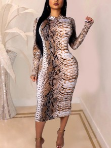 White Zipper Snake Print Long Sleeve Hip Bodycon Clubwear Midi Dress